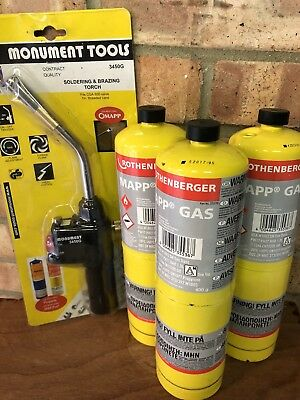 Monument 3450g blow torch + 3 rothenberger mapp gas bottles,  all brand new