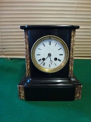 Antique Japy Freres Black Slate and Marble Mantle Clock