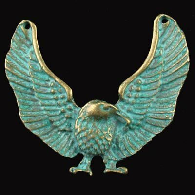 F26516 Carved Brass Bronze Eagle Pendant Bead 54x46x4mm