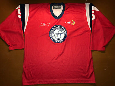IIHF Norway Ice Hockey Game Worn Jersey Shirt Reebok Size XXL #5 Norge Ishockey