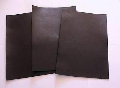 3 pieces 21x30cm Black Veg Tan Leather Pieces Tooling 2mm Cowhide Craft Repair