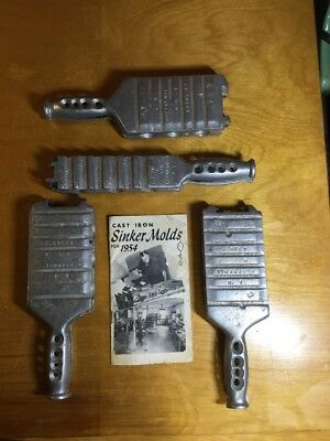 LOT Vintage E.L. Sweet Cast Iron Sinker Molds With 1954 Catalog