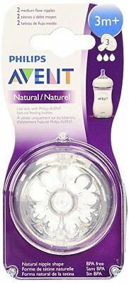 Philips AVENT BPA Free Natural Nipple Shape, Medium Flow 3m+, 2 Count