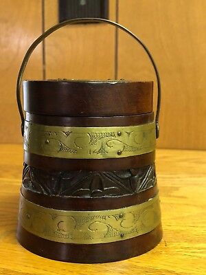Vintage Chinese Carved Wood & Brass Tea Caddie, Canister, Jar w/ Lid