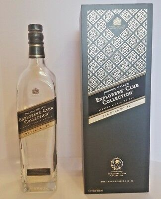 JOHNNIE WALKER EXPLORERS' CLUB COLLECTION THE GOLD ROUTE BOTTLE and CASE