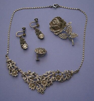 J78) Job lot of various marcasite jewellery brooch necklace spares and repairs