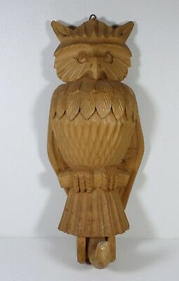 Hand Carved Wood Owl Hook with Moving Wings