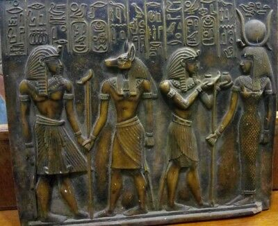 RARE ANCIENT EGYPTIAN ANTIQUE Anubis and Isis and Ramses Stela Ancient Antique