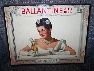 Vintage 1947 Girl BALLANTINE ALE & BEER Lithograph Litho Ad Easel Sign Glass Old