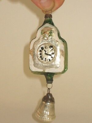West German Antique Glass Coo Coo Clock Two Piece Christmas Ornament 1950's