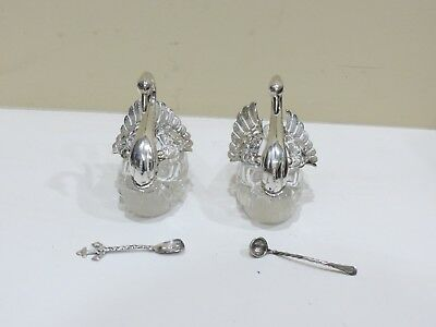 Lot of 2 VINTAGE  STERLING SILVER & Cut Glass Swan Salt Cellars