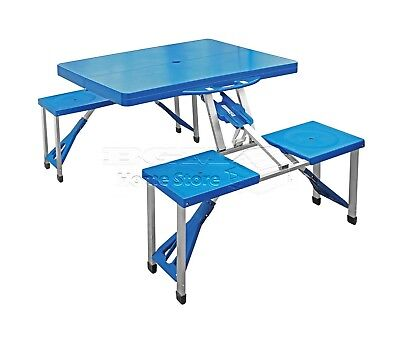 Blue Travel BBQ Portable Folding Camping Outdoor Dining Picnic Table Chairs