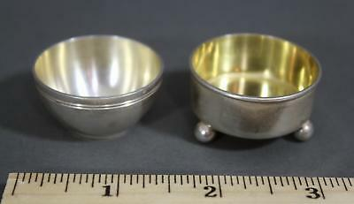 2 Antique Early 20thC Tiffany & Co Sterling Silver Open Salt Cellars, NR