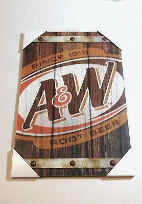 A&W ROOT BEER SIGN Classic Style Soda Pop Company Logo Wood Plaque BRAND NEW