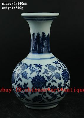 delicate Chinese antique hand painted blue and white porcelain vase b01