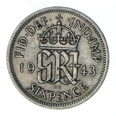 Roughly Size of a Dime - 1943 Great Britain 6 Pence - World Silver Coin *861