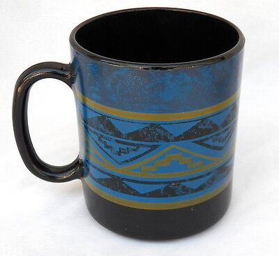 4 Arcoroc France Yucatan Coffee Cup Mugs Aztec Blue Black