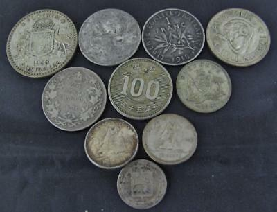 Super Lot Of 10 Mixed Foreign Silver Coins! Great Group! Really Nice Mix! #1