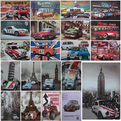 Retro Vintage Car Metal Iron Plate Poster Sign Plaques Wall Art Painting Decor