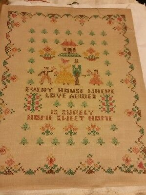 Antique Vintage  Sampler crossed stitched