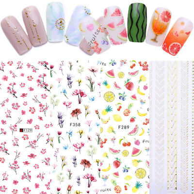 Gold Geometric 3D Nail Stickers Fruit Flower Watermelon Nail Art Transfer Decals