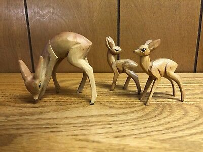 Sweet Vintage Mid Century Carved Wood Deer with 2 Fawns Figurines