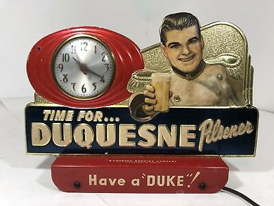 Vintage Duquesne Pilsener Beer 1950's Register Topper Advertising Clock Sign