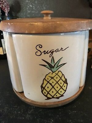 Vintage antique painted sugar tea coffee flour 4 piece canister lazy Susan rare