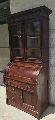 1800's ANTIQUE EASTLAKE CYLINDER ROLL TOP DESK w/ GLASS FRONT CABINET WALNUT???