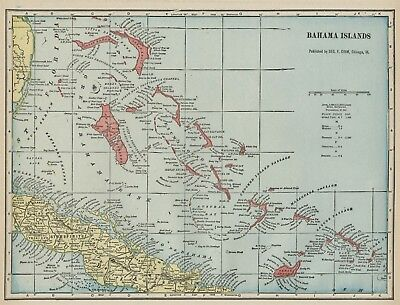 Bahamas Bahama Islands Map: Authentic 1899; Cities; Towns; Ports, Topography