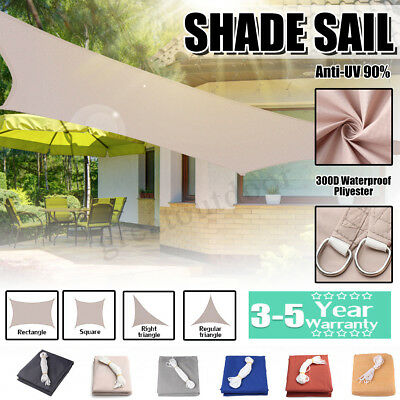 Sun Shade Sail 300D/280GSM Garden Patio Awning Canopy UV Block Waterproof 18Size