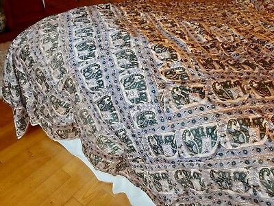 Vintage Indian Silk Bed Spread Throw Cover
