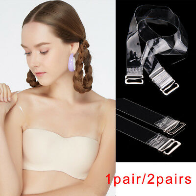 New 1/2 Pair Adjustable Detachable Transparent Clear Bra Straps Metal Hook DIY