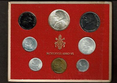 Vatican City 8-Coin Uncirculated Mint Set 1968 Anno Vi Paul Vi Silver 500 Lire