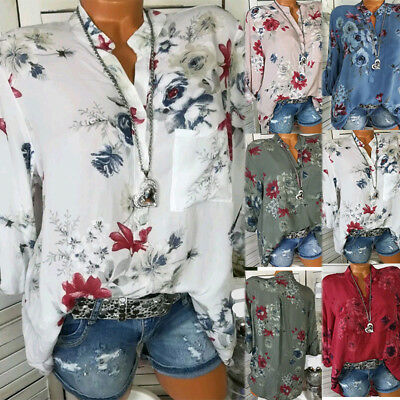 Womens Button V Neck T Shirt Tops Ladies Roll Sleeve Blouse Floral Basic Shirt