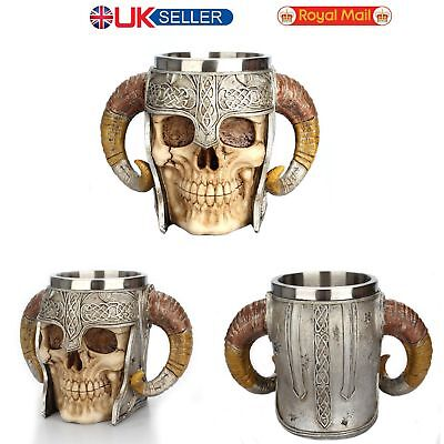 3D Stainless Steel Skull Cup Beer Coffee Tea Beverage Mug Viking Warrior Skull