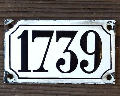 ANTIQUE FRENCH HOUSE NUMBER SIGN door PLATE PLAQUE Enamel steel Black white 1739