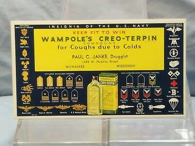 Vintage Advertising Ink Blotter: WAMPOLE'S CREO-TERPIN Insignia of the U.S. Navy