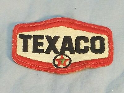 """TEXACO Fuels gas Oil Embroidered Sew On Uniform-Jacket Patch 3 1/4"""" x 2"""" Used"""