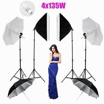 "4X135W Photography Studio Softbox Lighting Flash 33""84CM Umbrella Light Stand UK"