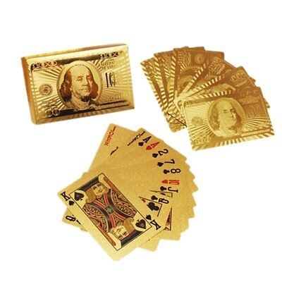 Deck of 24k Gold Foil Plating Poker Waterproof Plastic 54 Playing Cards