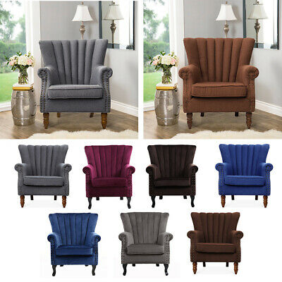 Retro Wing High Back Occasional Accent Chair Fabric MetalStuds Fireside Armchair