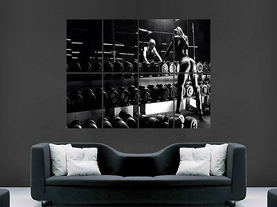 Weightlifting Super Sexy Girl Hot Gym Fitness Weights Art Wall Large Image