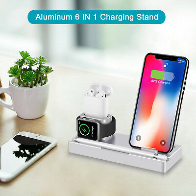 6 in 1 Wireless Charging Dock Stand Charger For Apple Airpods iWatch iPhone X/8
