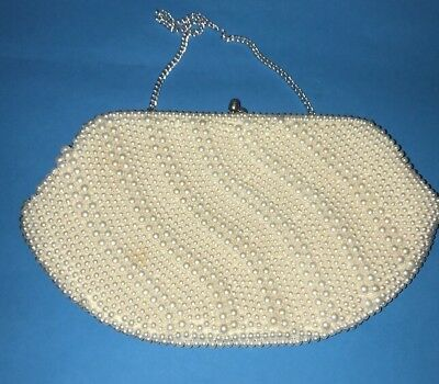 Vintage Pearl Beaded 60s Style Made in Japan Evening Clutch Bag