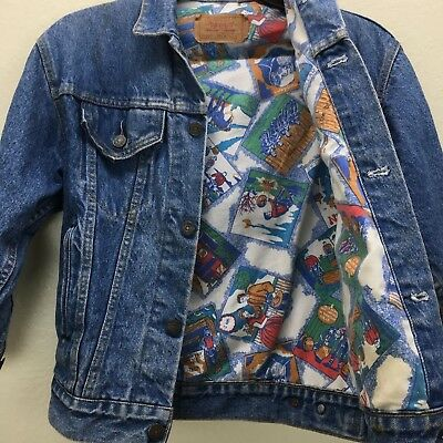 Vintage 80s Levi's Trucker Jacket Western Saloon Gold Rush Cartoon Lined 57507