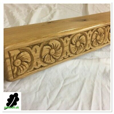 Hand Carved Oak Poppy Design Beam, Shelf,fireplace Mantle .3 Finises And 4 Sizes