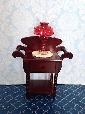 Vintage Dollhouse Miniature Blown Glass Red Table Lamp NOS