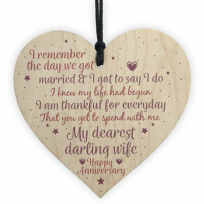 Handmade Wooden Heart Plaque 5th Wedding Anniversary Gift For Her