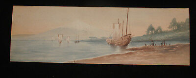 Antique Japanese Export Western Style Watercolor Painting Junk Boat Harbor Scene